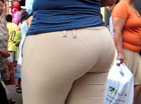tight trouser with visible panties